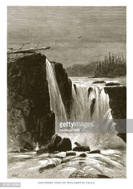 ウィラメット滝、カスケード山脈、オレゴン州、アメリカ合衆国、アメリカ ビクトリア朝彫刻、1872 の南側 - 内陸部の岩柱点のイラスト素材/クリップアート素材/マンガ素材/アイコン素材