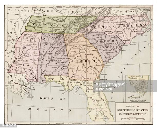 usa southern states map 1889 - tennessee v arkansas stock illustrations