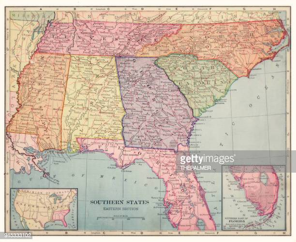 southern states map 1892 - southern usa stock illustrations, clip art, cartoons, & icons