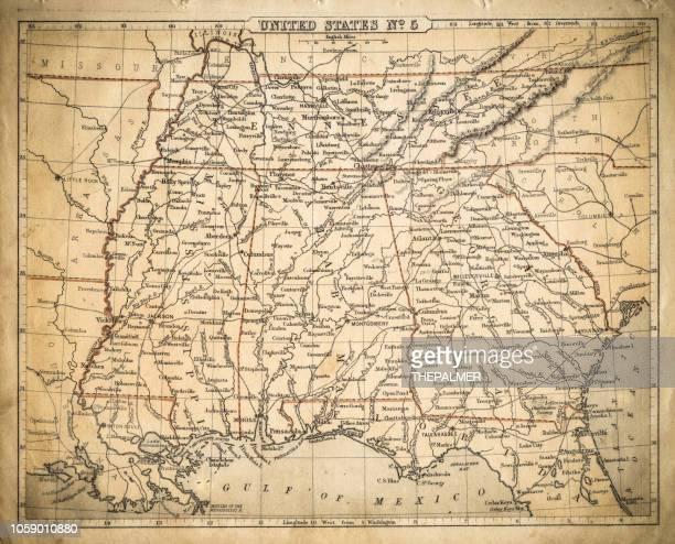 ilustrações, clipart, desenhos animados e ícones de mapa de estados do sul do eua de 1869 - geórgia sul dos estados unidos
