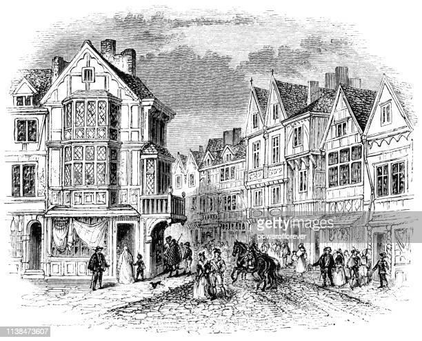 southwark in london, england - 15th century - circa 15th century stock illustrations, clip art, cartoons, & icons