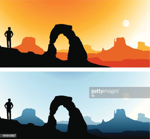 southwest scenics - natural arch stock illustrations, clip art, cartoons, & icons