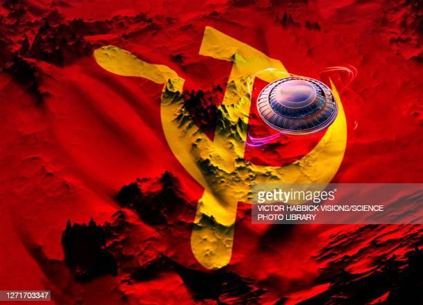 soviet ufo sightings, conceptual illustration - national flag stock illustrations