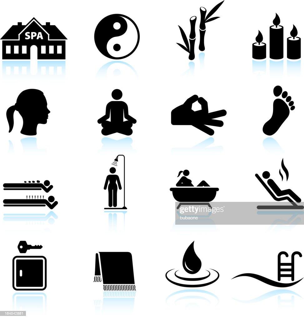 Spa Meditation and relaxation black & white icon set : stock illustration
