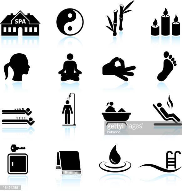 ilustrações de stock, clip art, desenhos animados e ícones de spa de relaxamento e meditação & branco e preto ícone conjunto - cena de tranquilidade