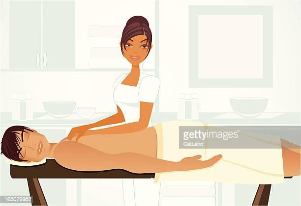 ilustrações de stock, clip art, desenhos animados e ícones de spa massagem série masculino - massagista