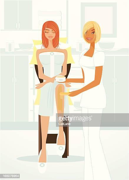 spa series waxing treatment - leg waxing stock illustrations