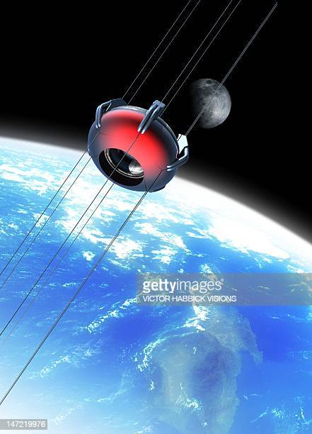 space elevator, artwork - victor habbick stock illustrations
