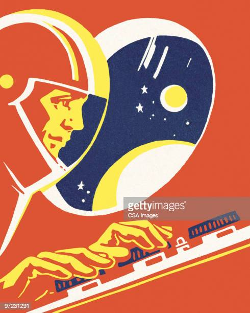 space explorer - helmet stock illustrations