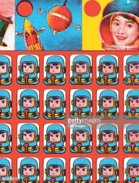 space explorer - work helmet stock illustrations