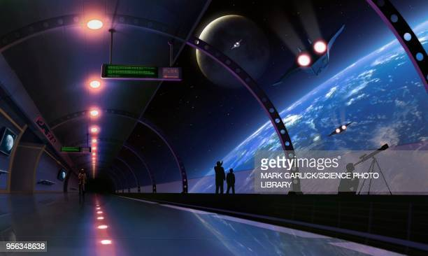 space habitat, illustration - space station stock illustrations