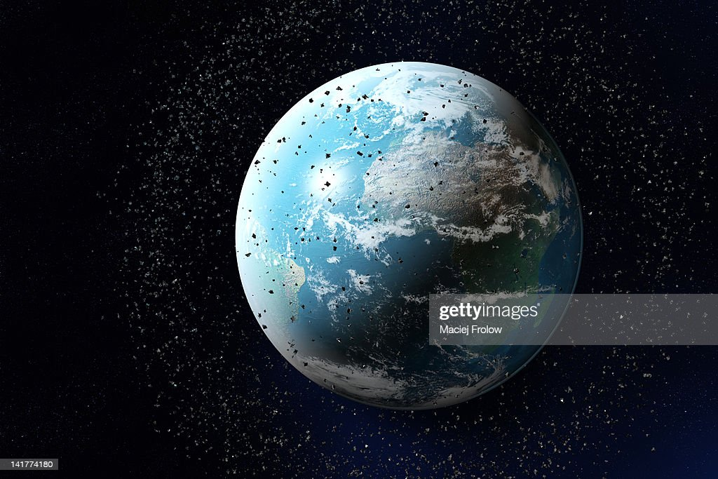 Space junk around planet earth : stock illustration