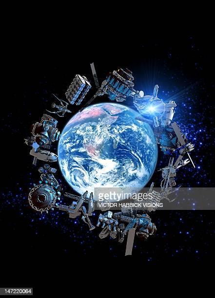 illustrazioni stock, clip art, cartoni animati e icone di tendenza di space junk, conceptual artwork - spazio cosmico