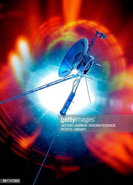 space probe in outer space, illustration - victor habbick stock illustrations