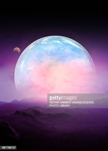 space scene, illustration - planet space stock illustrations