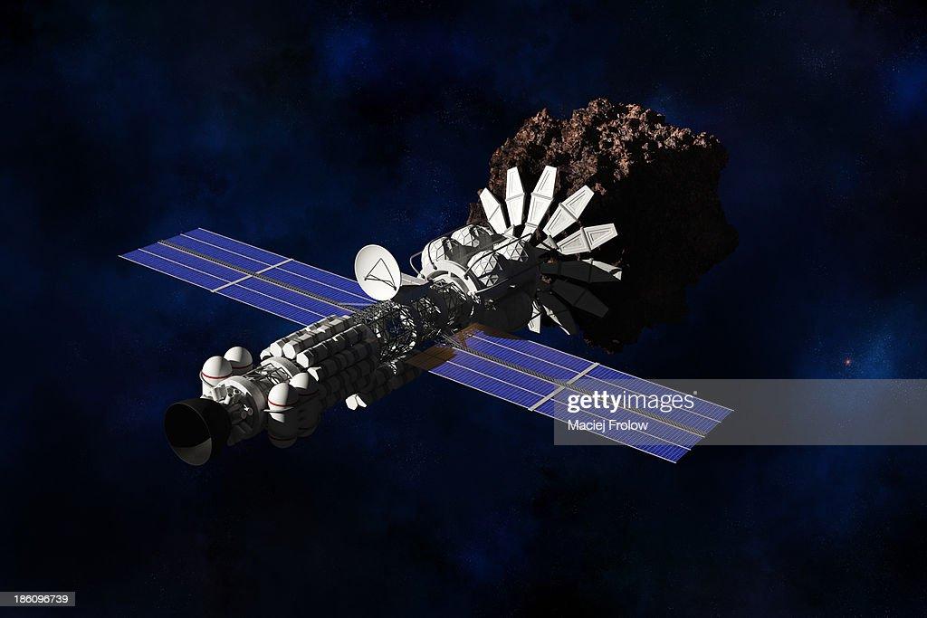 Space ship mining planetoid : Stock Illustration
