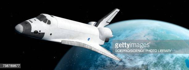 Space shuttle with distant planet, illustration