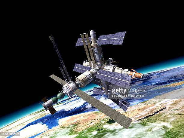 space station, artwork - space station stock illustrations