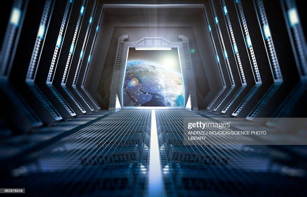 Space station interior, illustration : stock illustration