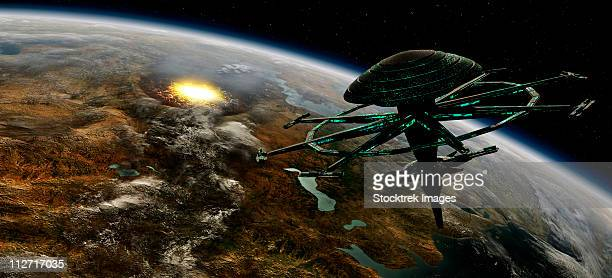 A space station orbits a terrestrial planet that has been hit by an asteroid.