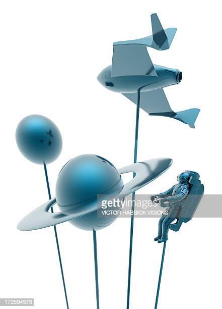 space tourism, conceptual artwork - figurine stock illustrations, clip art, cartoons, & icons