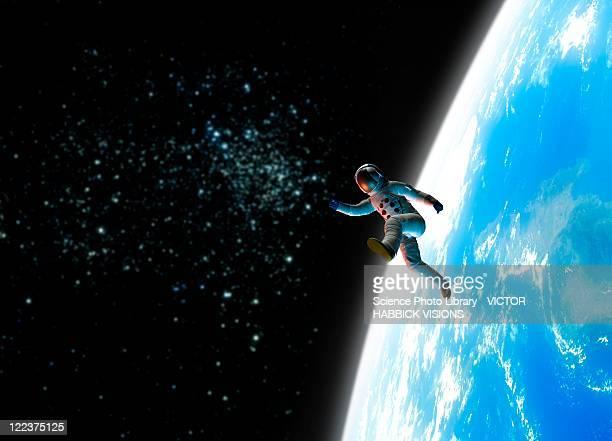 space walk, conceptual artwork - astronaut stock-grafiken, -clipart, -cartoons und -symbole