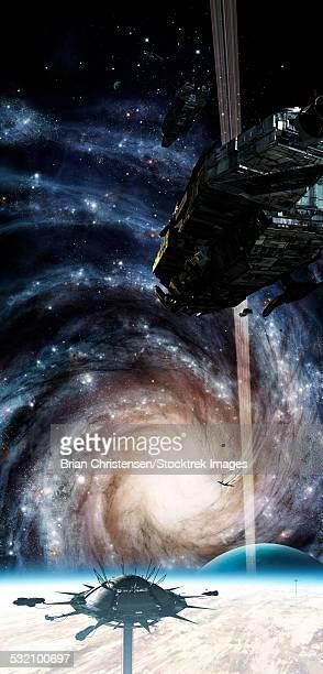 ilustraciones, imágenes clip art, dibujos animados e iconos de stock de a spacecraft arrives at the docking station on an enormous gas giant. - galaxiaespiral
