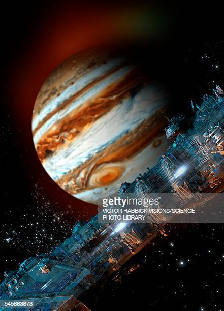 Spacecraft in Jupiter orbit, illustration