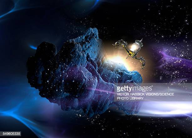 spacecraft landing on asteroid - 2015 stock illustrations