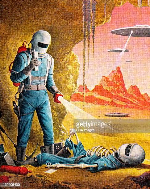 Spaceman Finding Dead Spaceman