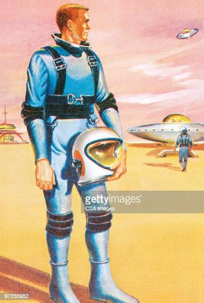 spaceman - helmet stock illustrations
