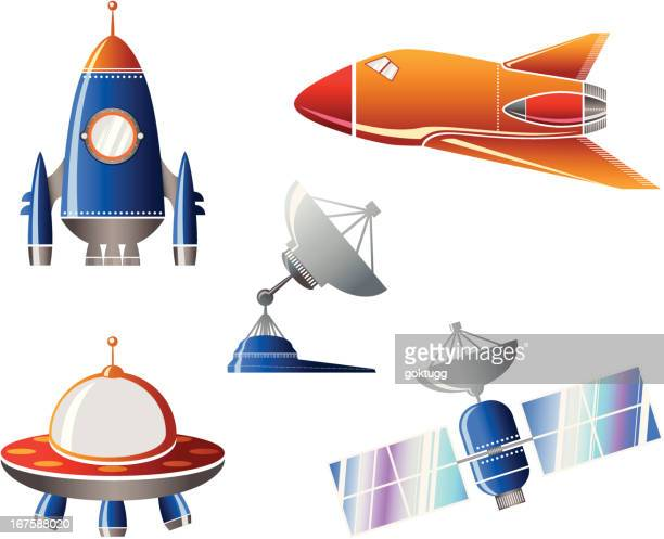 Spaceship and satellite icons