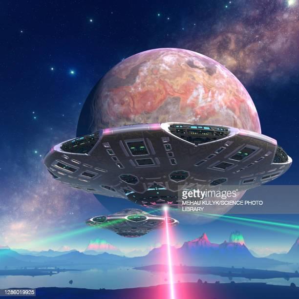 spaceship firing on alien planet, illustration - exploration stock illustrations