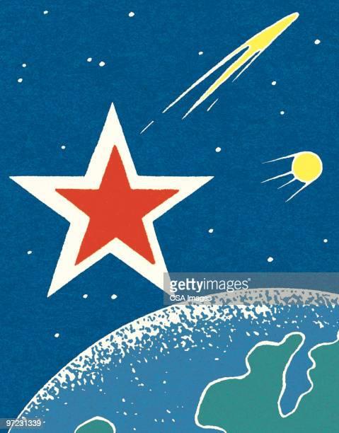 ilustraciones, imágenes clip art, dibujos animados e iconos de stock de spaceship - cometa espacio
