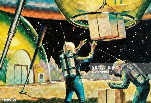 spaceship landing - astronaut stock illustrations, clip art, cartoons, & icons