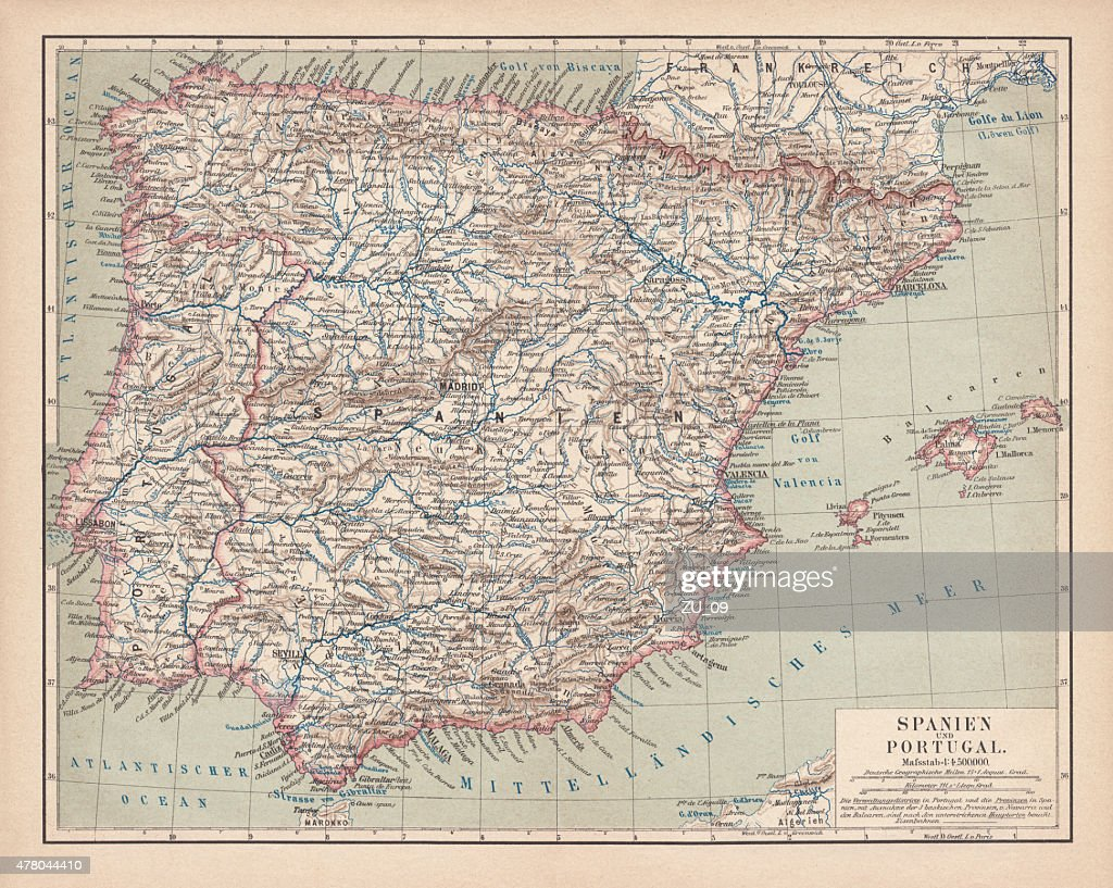 Spain and Portugal, lithograph, published in 1878 : stock illustration