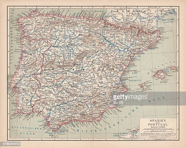 spain and portugal, lithograph, published in 1878 - seville stock illustrations, clip art, cartoons, & icons