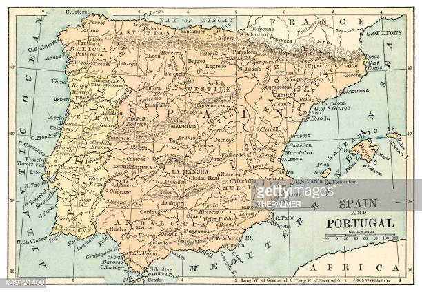 Spain and  Portugal map 1875