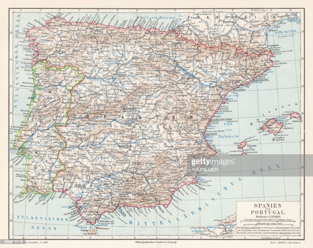 Spain and Portugal map 1895 : stock illustration
