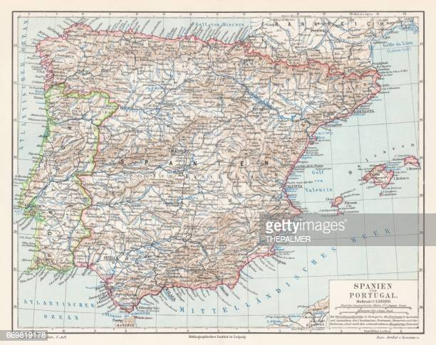 spain and portugal map 1895 - iberian peninsula stock illustrations, clip art, cartoons, & icons