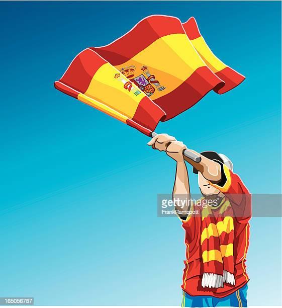 Spain Waving Flag Soccer Fan