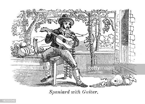 spaniard with guitar - spanish dancer stock illustrations, clip art, cartoons, & icons