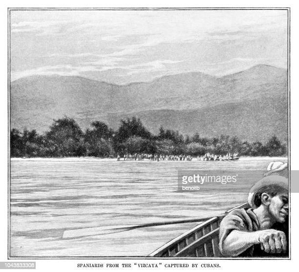 spaniards captured by cubans during the spanish american war - cuban ethnicity stock illustrations, clip art, cartoons, & icons
