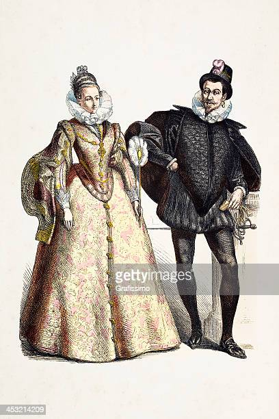 spanish aristocratic couple in traditional clothing from 16th century - 16th century style stock illustrations, clip art, cartoons, & icons
