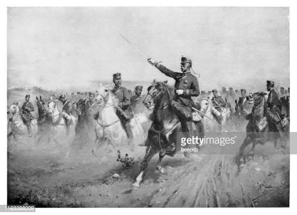 spanish cavalry charging - battlefield stock illustrations