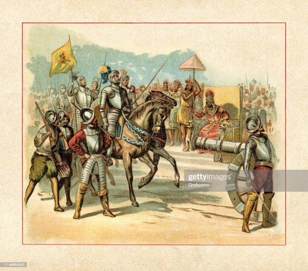 Spanish Conquistador Hernán Cortés entering Tenochtitlán meeting Montezuma II : Ilustración de stock