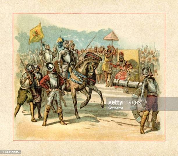 spanish conquistador hernán cortés entering tenochtitlan meeting montezuma ii - aztec stock illustrations