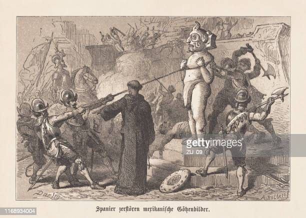spanish conquistadors destroyed aztec idols in mexico, woodcut, published 1876 - spanish culture stock illustrations
