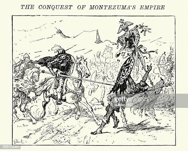 Spanish conquistadors fighting Aztec warriors