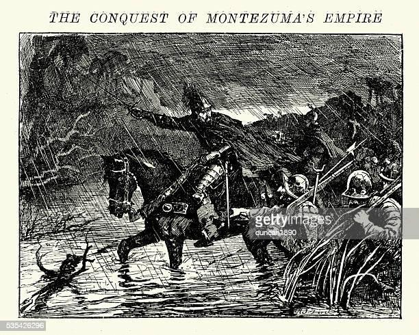spanish conquistadors invading the aztec empire - spanish culture stock illustrations